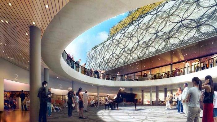 A Birmingham, un piano trouve naturellement sa place dans le hall de la médiathèque